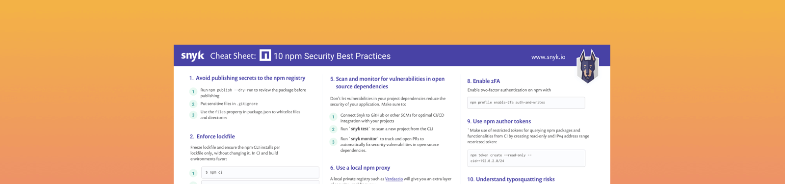 10 npm Security Best Practices | Snyk
