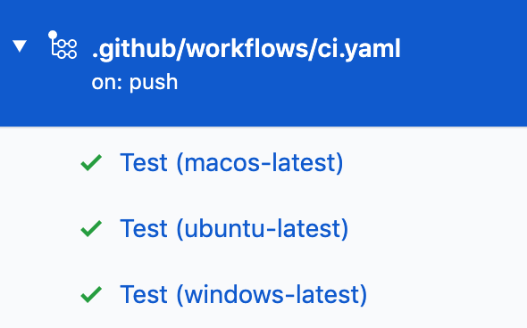 Shows GitHub Actions workflow configuration of ci.yaml file for macOS Ubuntu and Windows