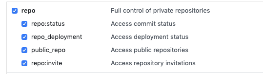 Configuration inside GitHub repository settings to create a user token