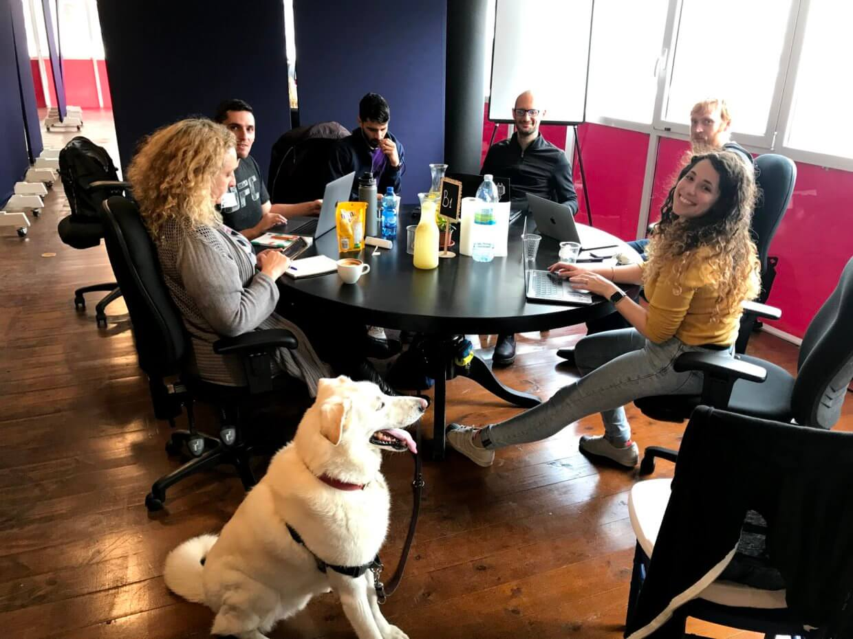 Team members are around a table working. There is a dog in the front of the picture.