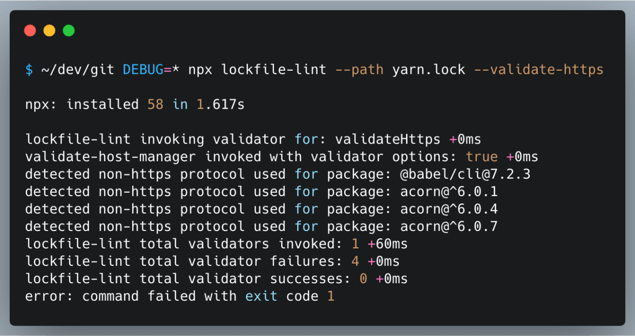 lockfile lint example for npm project